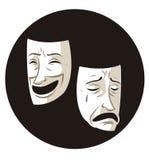 Theaterkomödien- und -dramamasken lizenzfreie abbildung