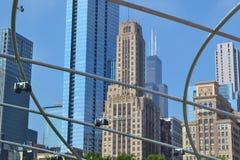 Theaterpark Chicago-Skyline im Freien Stockbilder