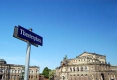 Theaterplatz, Dresden Alemanha Fotografia de Stock