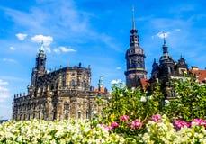 Theaterplatz kwadrat w Drezdeńskim Niemcy Zdjęcie Royalty Free