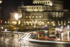 The Theaterplatz with the Opera House by night Royalty Free Stock Images