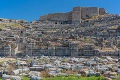 Theaterruïnes van oude Miletus Turkije royalty-vrije stock afbeelding