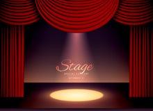 Theaterscène met rode gordijnen en dalend vleklicht royalty-vrije illustratie