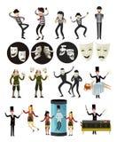 Theaterschauspielerclownpantomimeverfasser und -magier stock abbildung