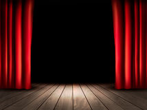 Theaterstadium met houten vloer en rode gordijnen Royalty-vrije Stock Foto's