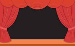 Theaterstadium met rode gordijnen Royalty-vrije Stock Afbeeldingen