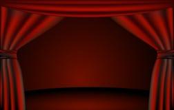Theaterstufe, Trennvorhänge Stockfoto