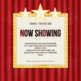 Theaterteken of bioskoopteken met sterren op rood gordijn Gouden retro uithangbord vector illustratie