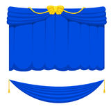 Theather scene blind blue curtain stage fabric texture performance interior cloth entrance backdrop isolated vector Royalty Free Stock Image