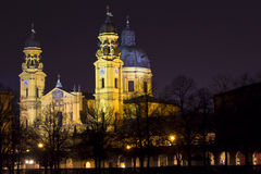 Theatinerkirche church in Munich at night Royalty Free Stock Photos