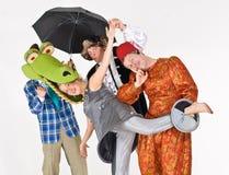 Theatrale actoren in kostuum royalty-vrije stock afbeelding