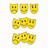 Theatrale maskers, drie smileys, emoticon sticker vector illustratie