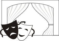 Theatrale maskers, scène, gordijn Royalty-vrije Stock Afbeelding