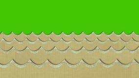 Theatrale Windy Cardboard Sea Waves Moving op een Groene het Schermachtergrond royalty-vrije illustratie