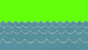 Theatrale Windy Cardboard Sea Waves Moving op een Groene het Schermachtergrond vector illustratie