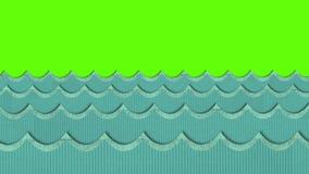 Theatrale Windy Cardboard Sea Waves Moving op een Groene het Schermachtergrond stock illustratie