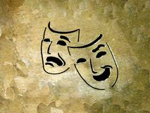 Theatre. Rough background with two masks Stock Photography