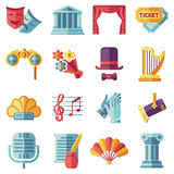 Theatre acting performance flat icons set. Drama performance theater, comedy performance theater, curtain and mask, tragedy performance theater. Vector Stock Photography