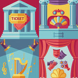 Theatre acting vector concept background in flat style Royalty Free Stock Photos