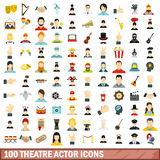 100 theatre actor icons set, flat style. 100 theatre actor icons set in flat style for any design vector illustration Royalty Free Stock Photos