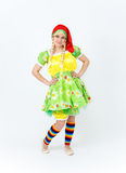 Theatre actress in fairy tale costume of lady dwarf on white Royalty Free Stock Photography