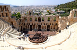Theatre in Athens, Greece. The Odeon of Herodes Atticus - theatre in Athens, Greece Royalty Free Stock Photos