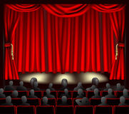 Theatre with audience. Illustration of theatre with curtains and audience royalty free illustration