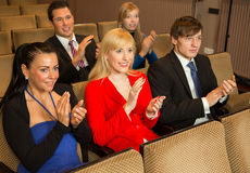 Theatre audience clapping and cheering Royalty Free Stock Photography