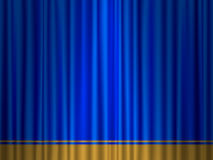 Theatre blue gold curtain Royalty Free Stock Photos