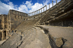 The theatre in Bosra. Syria. Bosra. Auditorium of 2nd-century AD Roman theatre for 12000 seat. This site is on UNESCO World Heritage List Royalty Free Stock Photo