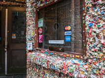 Theatre box office window in gum wall, Seattle Royalty Free Stock Photo