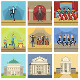 Theatre Buildings And Stage Perfomances Icons Royalty Free Stock Photos