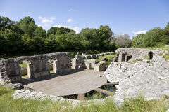The theatre, Butrint, Albania. The Theatre of the ruins of Butrint, a UNESCO World Heritage site in south-west Albania; the Theatre dates from the Hellenistic Stock Images