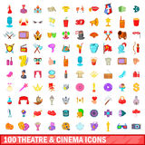 100 theatre and cinema icons set, cartoon style. 100 theatre and cinema icons set in cartoon style for any design vector illustration Royalty Free Stock Images