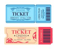 Theatre and Cinema Tickets Set with Emblem Icons. Theatre and cinema tickets set with emblem, mentioned date and seat, with control code vector illustration Stock Photography