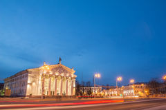 Theatre in the city lights. Gomel Regional Drama Theatre in the city lights. On the square in prospect stock images
