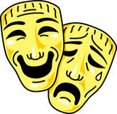 Theatre comedy and tragedy masks. Vector illustration Stock Images
