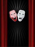 Theatre comedy and tragedy masks and black backgro. Und Royalty Free Stock Image