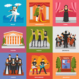 Theatre Compositions 3x3 Design Concept. With chorus musical rock concert opera ballet orchestra flat vector illustration Stock Image