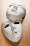 Theatre concept - white masks Stock Photos