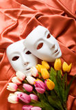 Theatre concept - white masks. Theatre concept with the white plastic masks Stock Photography