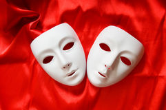 Theatre concept - white masks. Theatre concept with the white plastic masks Royalty Free Stock Images