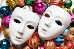 Theatre concept with the white. Plastic masks Stock Photo