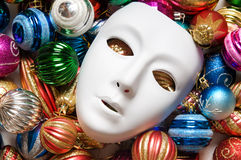 Theatre concept with the white. Plastic masks Royalty Free Stock Images