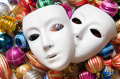 Theatre concept with the white. Plastic masks Stock Image