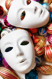 Theatre concept with the white. Plastic masks Stock Images