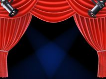 Theatre curtain. 3d rendered illustration of a theatre curtain with spotlights Royalty Free Stock Images