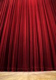Theatre curtain. Red clean closed velvet curtain, wooden floor, simple scene Royalty Free Stock Photos