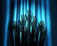 Theatre curtain and hands Royalty Free Stock Images