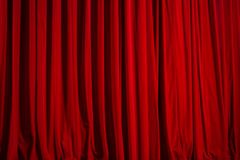 Theatre curtain of red velvet Royalty Free Stock Image
